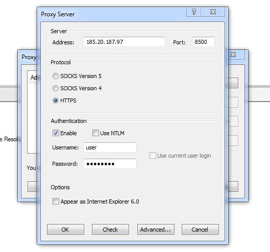 Proxy configuration in Proxifier